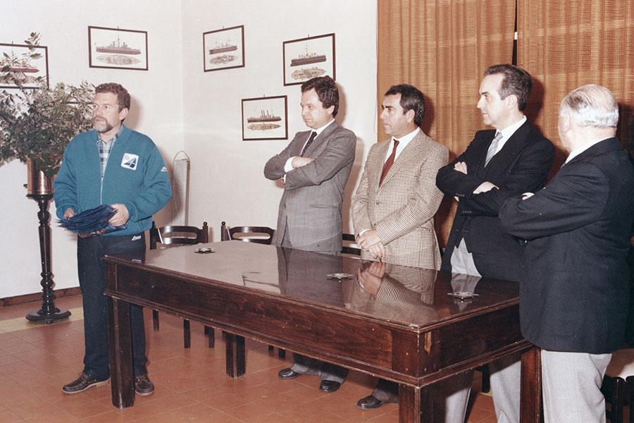 Cino Ricci, Skipper di Azzurra, premiato nel 1982